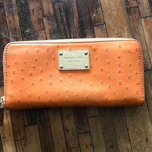 Michael Kors Orange Ostrich Wallet